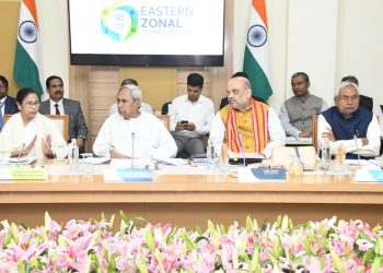 From L to R: West Bengal Chief Minister Mamata Banerjee, Odisha CM Naveen Patnaik, Union Home Minister Amit Shah and Bihar Cm Nitish Kumar.