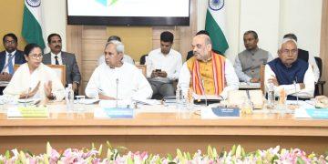 From L to R: West Bengal Chief Minister Mamata Banerjee, Odisha CM Naveen Patnaik, Union Home Minister Amit Shah and Bihar Cm Nitish Kumar.