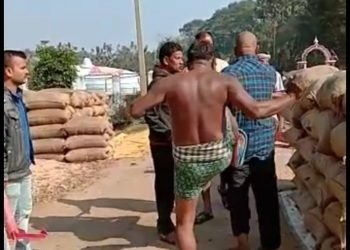 Farmer kicked at paddy procurement centre, video goes viral