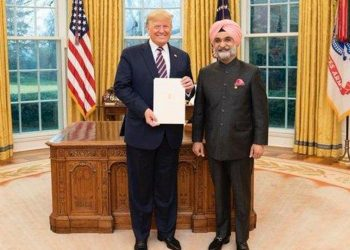 Taranjit Sandhu with US President Donald Trump