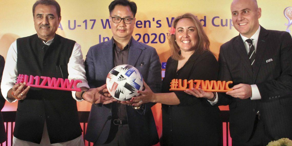 (From left): Praful Patel, Kiren Rijiju along with FIFA officials Sarai Bareman and Roberto Grassi