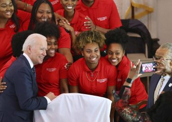 Joe Biden (left) in a fund-raising programme Sunday