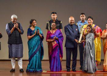 President Ram Nath Kovind felicitates 'mushroom' lady Bina Devi along with other dignitaries