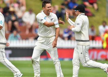 Trent Boult celebrates after dismissing an Indian batsman