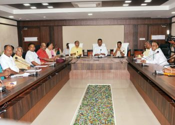 SJTA chief Krishan Kumar chairs a Chhatisha Nijog meeting in Puri, Wednesday