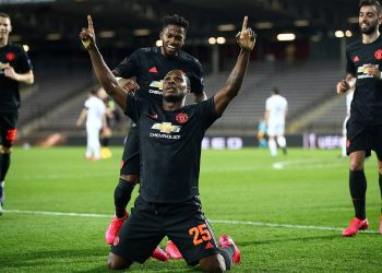 Odion Ighalo of Manchester United celebrates after scoring the first goal against Linz
