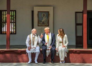 Prime Minister Narendra Modi, US President Donald Trump and First Lady Melania Trump at Sabarmati Ashram. (PTI Photo)
