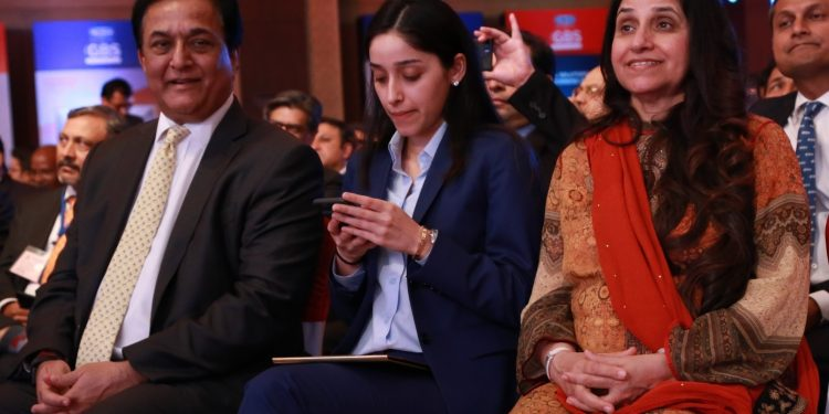 New Delhi: YES Bank Managing Director and CEO Rana Kapoor along with his family at the 4th Global Business Summit in New Delhi on Feb 23, 2018. (Photo: Amlan Paliwal/IANS)