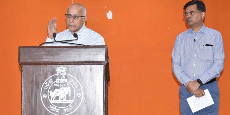 Subrato Bagchi speaks to the media in Bhubaneswar, Wednesday