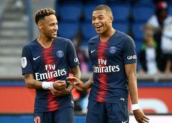 Neymar (left) and Kylian Mbappe