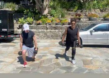Priyanka Chopra, Nick Jonas enjoy working out in sun amid COVID-19 lockdown