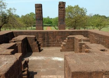 A stone-made structure unearthed by ASI at Choudwar