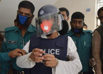 Abdul Majed being produced in a Dhaka court, Tuesday