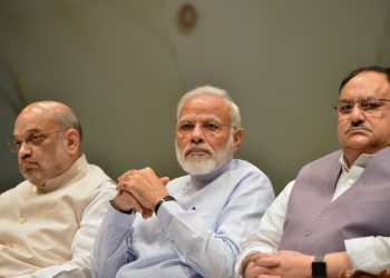 New Delhi: Prime Minister Narendra Modi with Union Home Minister Amit Shah and BJP Working President J.P. Nadda during the two-day compulsory orientation programme 'Abhyas Varga' organised for all the newly-elected Members of Parliament of BJP in the Lok Sabha and Rajya Sabha, at Parliament in New Delhi on Aug 3, 2019. (Photo: IANS)