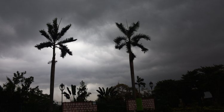 Dark clouds hover over Bhubaneswar sky
