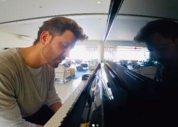 Lockdown diaries: Hrithik Roshan hones piano skills, Sussanne Khan photobombs