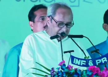 File photo of BJD supremo Naveen Patnaik taking oath of office and secrecy in a grand ceremony at Idco Exhibition Ground in Bhubaneswar May 29, 2019.