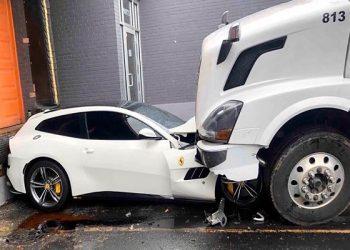 Fired from job, employee rams Volvo truck into boss's Ferrari.