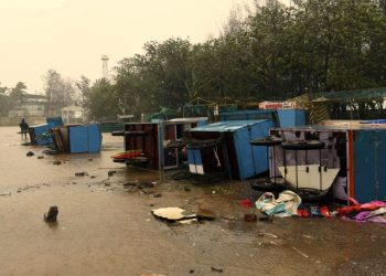 Navi Mumbai: Food carts lie turtle on a road following rains and strong winds triggered by Cyclone Nisarga, at Alibag in Navi Mumbai, Wednesday, June 3, 2020. (PTI Photo)