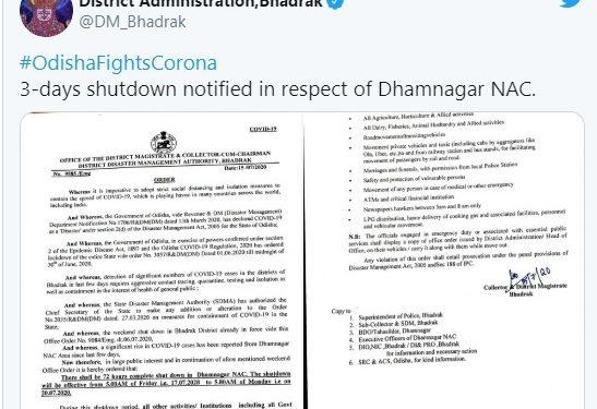 Bhadrak 72-hr shutdown declared in Dhamnagar NAC amid rising COVID-19 cases