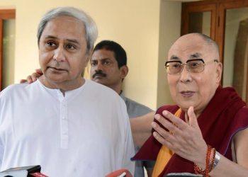 File photo of Chief Minister Naveen Patnaik with Tibetan spiritual leader Dalai Lama