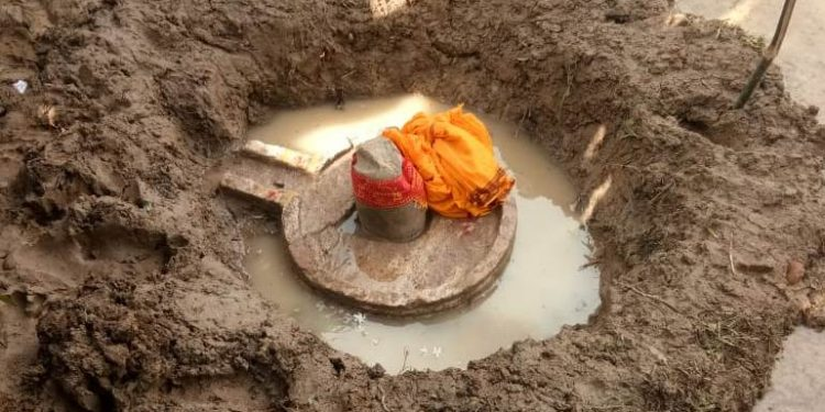 Holy Shravan month Shiv ling found in Puri farmland, villagers offer prayers