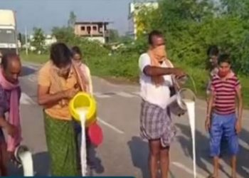 Western Odisha: Bargarh dairy farmers pour milk on NH-53 in protest