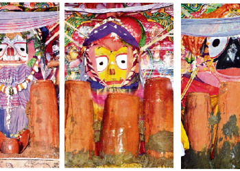 Lord Balabhadra, Devi Subhadra and Lord Jagannath being served a special drink on their respective chariots at the Lions' Gate of Srimandir as part of the Adharapana ritual, Friday
