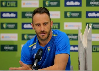 PERTH, AUSTRALIA - NOVEMBER 03: Faf du Plessis of South Africa talks to the media during his press conference during a One Day International Series Media Opportunity at Perth Stadium on November 03, 2018 in Perth, Australia. (Photo by James Worsfold/Getty Images)