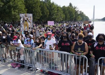 "Washington : People attend the March on Washington, Friday, Aug. 28, 2020, at the Lincoln Memorial in Washington, on the 57th anniversary of the Rev. Martin Luther King Jr.'s ""I Have A Dream"" speech. AP/PTI(AP28-08-2020_000208B)"