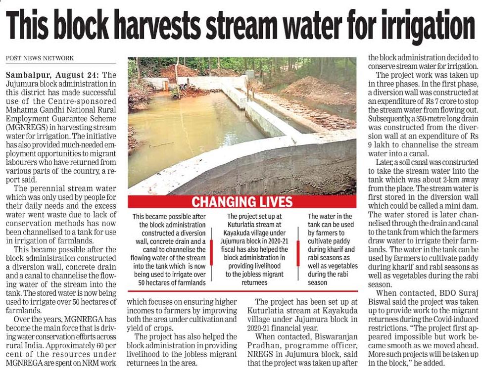 Stream water for irrigation in Jujumura block