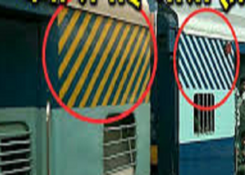 Why are yellow and white stripes used in train coaches?