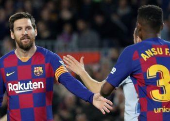 Ansu Fati and Leo Messi celebrate after a goal Monday    Photo courtesy: planetfootball.com