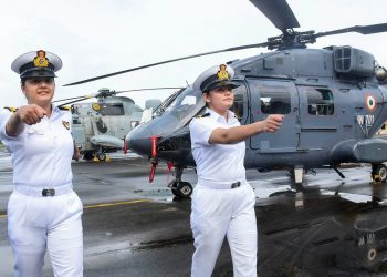 Kochi: Sub Lt. Riti Singh and Sub Lt. Kumudini Tyagi, the first women airborne tacticians who will operate from deck of warships, after they passed out of Indian Navy's Observer Course, at Southern Naval Command, Kochi, Monday, Sept. 21, 2020. (PTI Photo) (PTI21-09-2020_000117B)