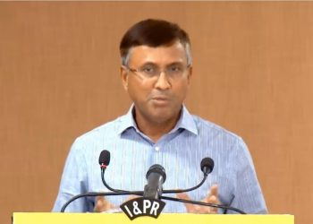 File photo of Chief Secretary Asit Tripathy briefing media