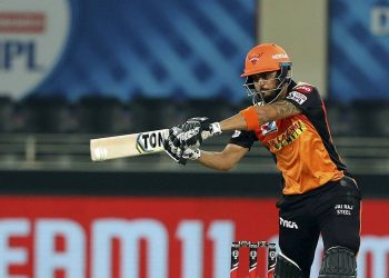 Dubai: Sunrisers Hyderbad batsman Manish Pandey plays a shot during the Indian Premier League 2020 cricket match against Rajasthan Royals, at Dubai International Cricket Stadium, in Dubai, Thursday, Oct. 22, 2020. (PTI Photo/Sportzpics for BCCI)(PTI22-10-2020_000228B)