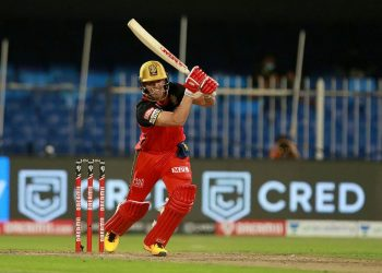 AB de Villiers plays a shot during his innings against KKR, Monday