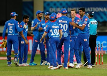 Delhi Capitals players congratulate each other after their victory over Rajasthan Royals in Dubai, Wednesday