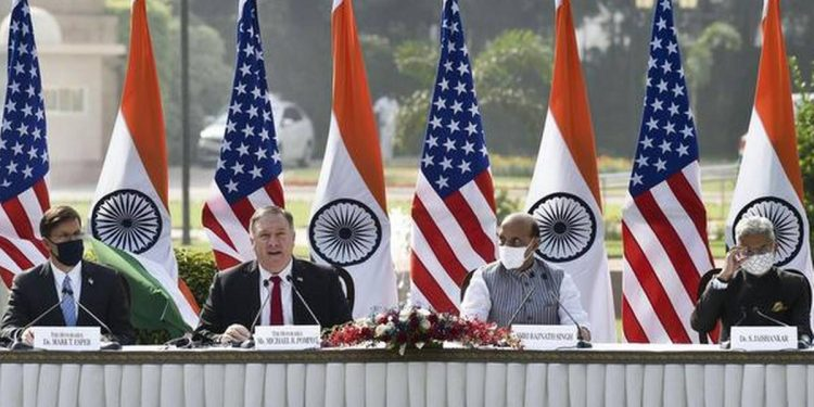 India's Defence Minister Rajnath Singh speaks next to US Secretary of State Mike Pompeo, US Secretary of Defence Mark Esper and India's Foreign Minister Subrahmanyam Jaishankar during a joint news conference after their meeting at Hyderabad House in New Delhi. (PTI)