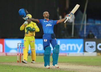 Shikhar Dhawan celebrates after Delhi Capitals' win against Chennai Super Kings, Saturday