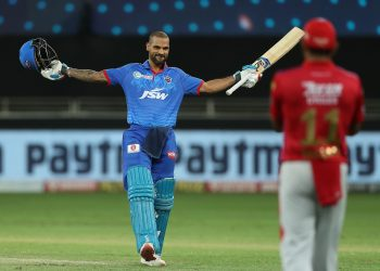 Shikhar Dhawan celebrates his historic century as he becomes the first batsman to score back-to-back hundreds in IPL