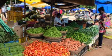 File photo of a vegetable shop at Unit-I market in Bhubaneswar. (Bikash Nayak)