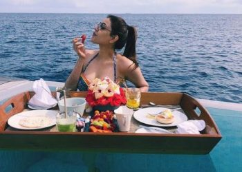 Kajal Aggarwal enjoying with her husband in Maldives, shares photo of having breakfast by the swimming pool