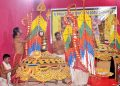 Artisans giving finishing touches to the special attire for Nagarjuna Besha Ritual