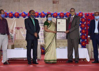 Utkal University Vice-Chancellor Sabita Acharya felicitates her predecessor Soumendra Mohan Patnaik at the foundation day celebration of the varsity