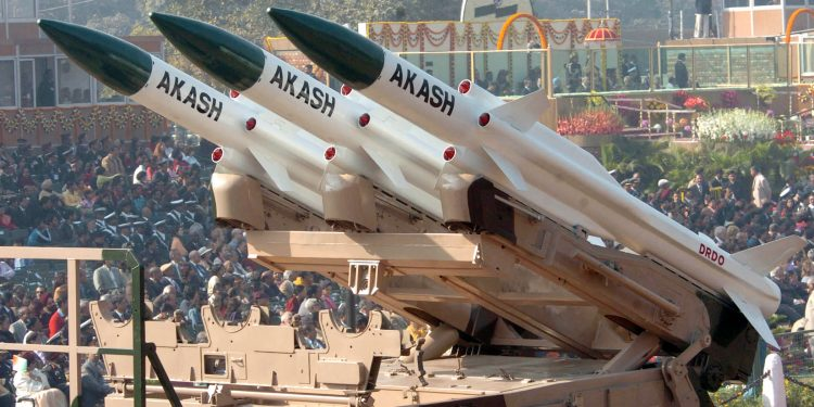 The 'Akash' super sonic cruise missile with a range of 25km, passes through the Rajpath during the 58th Republic Day Parade - 2007, in New Delhi on January 26, 2007.