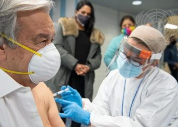 United Nations Secretary General Antonio Guterres gets vaccinated against COVID-19 at vaccination center in a New York City high school on Thursday, January 28, 2021. (Photo: UN/IANS)
