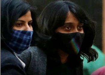 File photo of environment activist Disha Ravi (right)
