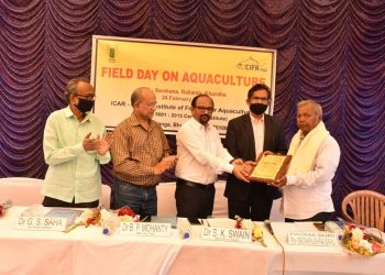 Fish farmer Padmashri Batakrushna Sahu being felicitated for acting as a role model for others in practicing scientific fish farming.