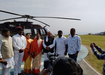 The newly elected Sarpanch of Ambi-Dumala village JALINDER GAGARE, arrived in a helicopter from Pune. Pic- IANS
